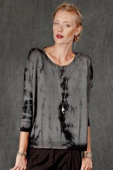 Eiffel Tower Black Cashmere Tie-Dye Knit Sweater