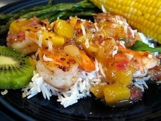 Shrimp & Scallops With Warm Tropical Fruit Salsa and Corn On The Cob ...