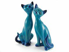 Mid-Century Modern •~• vintage MCM turquoise ceramic cats