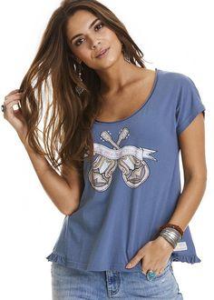 T-shirt blå 317M-414 Holiday Mood T-shirt - china blue