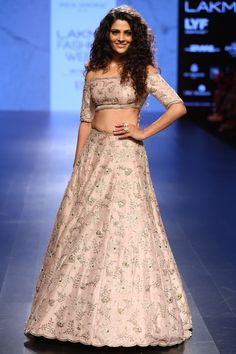 PAYAL SINGHAL  Blush Embroidered Lehenga and Off Shoulder Choli set available only at Pernia's Pop Up Shop.