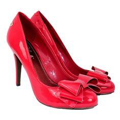 Blink Bow Detail Ladies High Heel Shoe in Flame (Red)