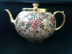 "RARE VINTAGE Gibsons Teapot Pink Gold Floral by BungalowHeritage, $35.00. ""Repinned by Keva xo""."