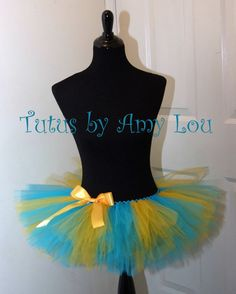 Tomboy Stripe Flounder Little Mermaid Costume In Yellow and Aqua Teal Race Running Tutu; Adult Women's Sizes; Tutus By Amy Lou
