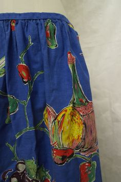 The end of food rationing may have prompted the exuberant food and drink motif on this 1950s cotton skirt. Collection: Royal Pump Room/Harrogate Museum.