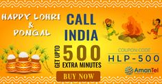 "Amantel wishing you all Happy Lohri & Pongal. Enjoy upto 500 extra minutes for #India #calling. Use this coupon code - ""HLP-500"" and give the more wishes to your #friends and #family by making more #international #calling. Buy Now, offer valid for limited periods - http://amantel.com/offers/happy-lohri-1216.html"
