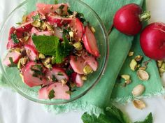 Radish, Mint and Pistachio Salad. Recipe by Maya Eid of Nuts and Bowls