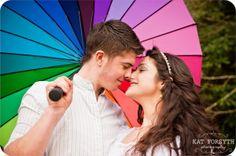 Rainbow wedding umbrella