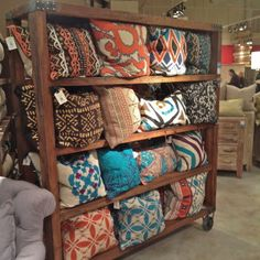 pillow display #lvmkt Cushions, Pillows, Commercial Design, Visual Merchandising, Wood Projects, Booth Ideas, Display Ideas, Interior Design, Storage