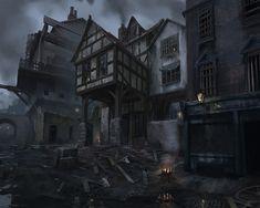 ArtStation - The Order 1886 Concept Design, Brandon Bien Fantasy Town, High Fantasy, Medieval Fantasy, Fantasy World, Concept Art Landscape, Fantasy Landscape, Steampunk, Images Star Wars, Concept Art World