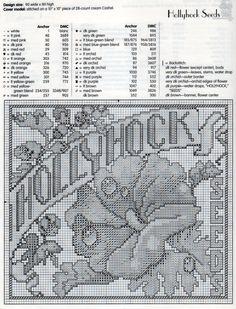 Hollyhock Seed Packet Cross Stitch Pattern & Floss Chart