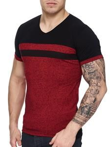 K&D Men Cross Band V-Neck T-shirt - Red