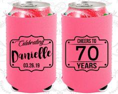 70th Birthday, 70th Neoprene Birthday, Cheers to 70 years, Cheers to Seventy Years, Neoprene Birthday Can Coolers (20227)