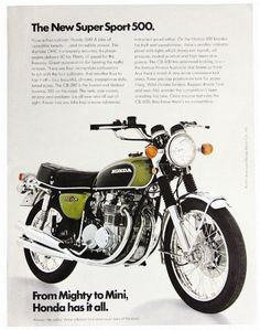 """The thinking man's motorcycle."" That was Cycle magazine's take on Honda's half-liter four, the Honda CB500 Four. Smaller and lighter than its famous big brother, the trend-setting Honda CB750 Four, the new for 1971 Honda CB500 Four took all the 750's fine attributes and focused them into a smaller, lighter bike that in many ways was better than its much-lauded forbearer. (Motorcycle Classics November/December 2008. Read more at motorcycleclassics.com)"