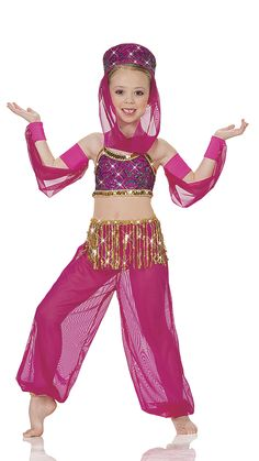 JUMPSUIT: Fluorescent cerise lycra with a sequin lace overlay with nude mesh, and fluorescent cerise lycra trunks with attached raspberry mesh pants TRIM: Gold trim and gold fringe HEADPIECE WITH ATTACHED MESH VEIL AND ARM SLEEVES INCLUDED FREE SIZES: Child: XS-S-M-L-XL-XXL Imported