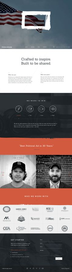 Responsive one pager for digital agency 'Poolhouse' with a header video background. Like that touch with sliding in the bio to the right and left of the team members.