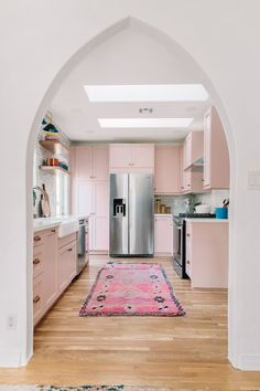 Studio DIY's Pink Kitchen Transformation Seriously Wows - Dream Home , Architecture Renovation, Home Renovation, Home Remodeling, Building Architecture, Kitchen Remodeling, Küchen Design, Layout Design, Design Ideas, Kitchen Color Trends