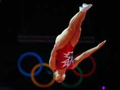 Rosannagh Maclennan of Canada competes in women's gymnastics trampoline qualification in the North Greenwich Arena during the London 2012 Olympic Games August 4, 2012.