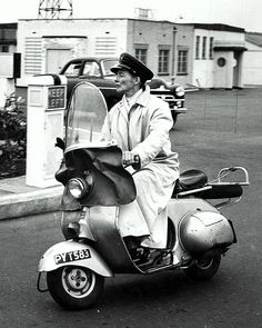 Katharine Hepburn leaving Shepperton Studios in London on a scooter, 1956