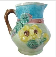 Aesthetic Majolica Floral Pitcher. Home