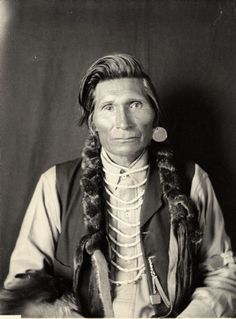 Portrait (Front) of Yumapeima (Grizzly Bear in the Center) in partial native dress with ornaments. Part of Shahaptian and Umatilla Tribes
