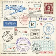 Colored Grunge Passport Stamps Designs