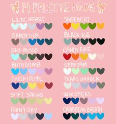 nicoriku:     ❤ first palette meme I've made and probably not the last ❤      *:    ・゚✧  send a character + palette  *:・゚✧      A pretty pallet meme if anyone's looking for one!