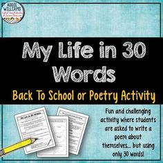 BACK TO SCHOOL - Students are asked to write an autobiographical poem in exactly 30-words and present it in the form of a poster.  Great activity to learn about your students for Back to School! Encourages them to think about what makes them unique and what's important to them.