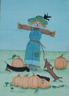 Field full of dachshunds (doxies), Halloween pumpkins and scarecrow / Lynch signed folk art print via Etsy
