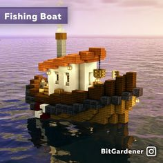 I made a steam-powered fishing boat! : DetailCraft Minecraft Cottage, Cute Minecraft Houses, Minecraft Room, Minecraft Plans, Minecraft House Designs, Amazing Minecraft, Minecraft Survival, Minecraft Tutorial, Minecraft Blueprints