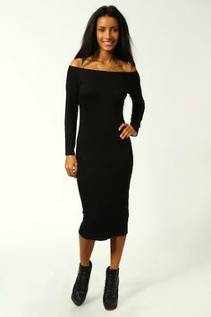 Olivia Off The Shoulder Bodycon Midi Dress