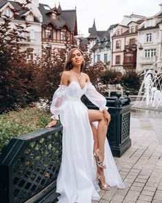 Summer bohemian wedding dress by Dream&Dress. Gorgeous airy corset bridal dress for exquisite wedding look! A deep sweetheart neckline and long sleeves all about this wedding gown are perfect for boho and rustic wedding Dream Wedding Dresses, Bridal Dresses, Wedding Gowns, Bridesmaid Dresses, Prom Dresses, Formal Dresses, Ivory Wedding, Elegant Dresses, Rustic Wedding