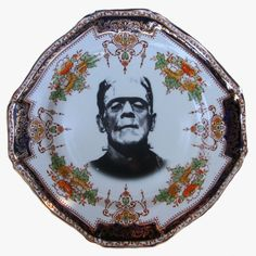 SALE - Frankenstein Portrait Plate - Altered Antique Plate 8.25""