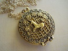 Vintage Unicorn Locket Corday Perfume Locket by Willow and Quinn