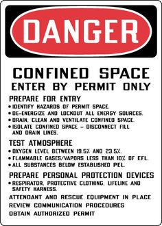 permit required confined spaces - Google Search Confined Space, Spaces, Google Search
