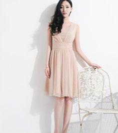 Bohemian Beige Wrap Aline Dress Pleated Full Skirt by ChineseHut, $149.00