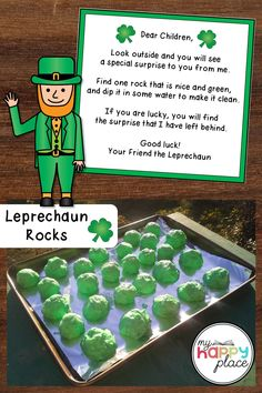 Our leprechaun didn't get tricked by our trap on St. Patrick's Day, but he did leave behind these magic leprechaun rocks along with his note. Kindergarten Activities, Activities For Kids, Crafts For Kids, Preschool, Leprechaun Trap, March Themes, Arts And Crafts Supplies, Diy For Girls, Teaching Resources