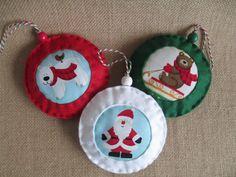 Handmade felt and fabric Christmas Decorations, Christmas Tree Decorations, by JamPopCrafts on Etsy