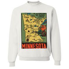 Vintage State Sticker Minnesota Crewneck Sweatshirt