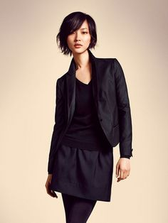 Black on black: a blazer, shirt and simple skirt with skinni pant-leggings. Great for looking professional but able to get into small places if doing tours or other surprises that pop up when terping!
