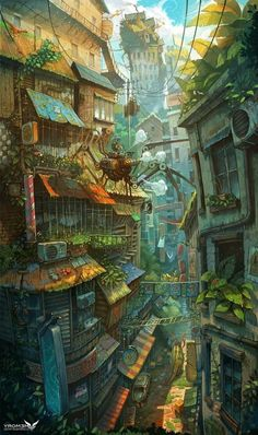Art director Zhichao Cai (aka Trylea) uses no tricks or photocomping in his amazing, ridiculously vertical compositions, featuring incredibly pushes perspectives, impossible architecture and a plethora of detail to scour for in his incredible digital Fantasy Art Landscapes, Fantasy Landscape, Landscape Art, Landscape Paintings, Japan Illustration, Fantasy Concept Art, Fantasy Artwork, Whats Wallpaper, Arte Steampunk