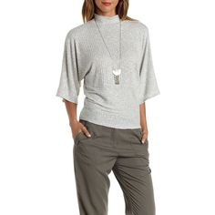 Charlotte Russe Lt Gray Ribbed & Marled Mock Neck Top by Charlotte... ($22) ❤ liked on Polyvore featuring tops, sweaters, lt gray, mock neck sweater, marled sweater, ribbed turtleneck, turtle neck sweater and grey turtleneck sweater