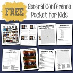 Free LDS General Conference Packet for older kids!  These are some super fun activities!  From www.overthebigmoon.com!