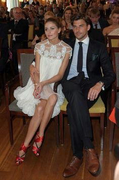 Adorable dress, shoes and man.