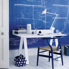 DIY Inspiration - Blueprints used as wall decor. Love the look. Where to buy source list.