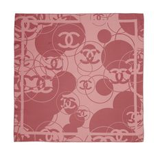 Chanel Pink Logo Silk Scarf | From a collection of rare vintage scarves at http://www.1stdibs.com/fashion/accessories/scarves/