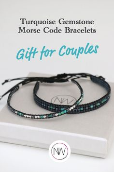 This minimalist Morse Code Couples beaded bracelet comes with a delicate gift wrapping and contains a secret message that only your beloved will understand and cherish for the rest of his/her life. #couplesbracelet #morsecodebracelets #morsecodejewelry #custombracelets #beadedjewelry Handmade Accessories, Handmade Jewelry, Presents For Your Boyfriend, Morse Code Bracelet, Couple Bracelets, Valentines Day Gifts For Him, Gemstone Bracelets, Meaningful Gifts, Turquoise Gemstone