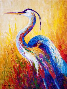 heron paintings framed | ... Blue Heron Painting - Steady Gaze - Great Blue Heron Fine Art Print