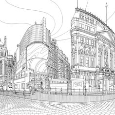 Fantastic Cities: the most intricate all-ages colouring book yet Piccadilly Circus, London.