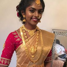 Lovely cute little girl vishaly saree blouse stitched and hair make and saree done by qstylehairnbeauty Saree blouse Silk Saree Blouse Designs, Bridal Blouse Designs, Golden Saree, Antique Jewellery Designs, South Indian Bride, Traditional Sarees, Beautiful Hijab, Half Saree, Cute Little Girls